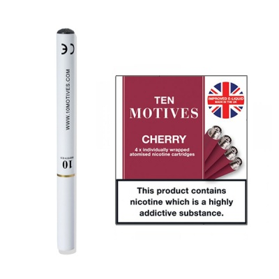 10 Motives E-Cigarette Starter Kit with Medium Strength Cherry Refills