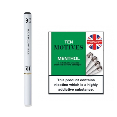 10 Motives E-Cigarette Starter Kit with Medium Strength Menthol Refills