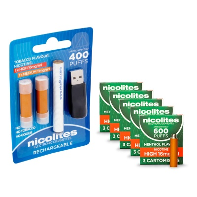 Nicolites Rechargeable Electronic Cigarette Starter Kit and High Strength Menthol Refill Cartridges Combo Pack