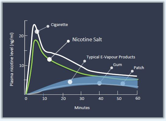 Absorption of nicotine salts