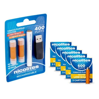 Nicolites Rechargeable Electronic Cigarette Starter Kit and Low Strength Tobacco Refill Cartridges Combo Pack