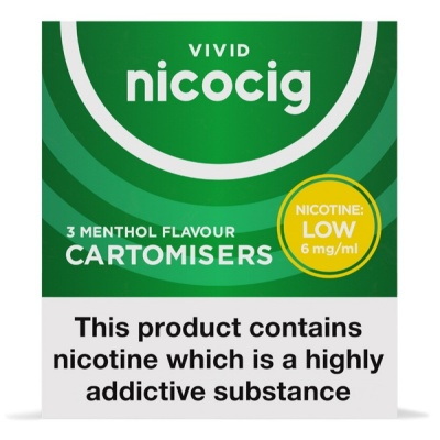 Nicocig Refill Cartridges Low Strength Menthol Cartomisers