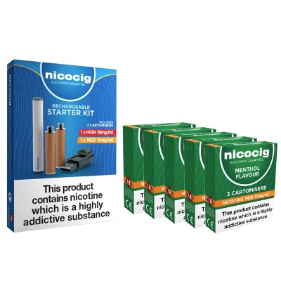 Nicocig Rechargeable Electronic Cigarette Starter Kit and Nicocig Refill Cartridges Medium Strength Menthol Cartomisers Saver Pack
