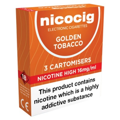 Nicocig Refill Cartridges High Strength Golden Tobacco Cartomisers