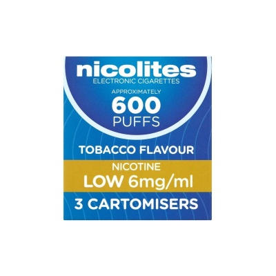Nicolites Refill Cartridges Low Strength Tobacco Cartomisers