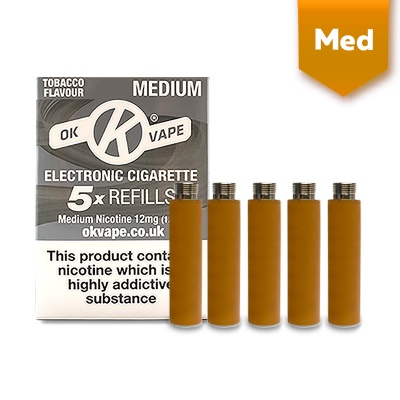 OK Vape Tobacco Medium Nicotine E-Cigarette Refills (12mg)