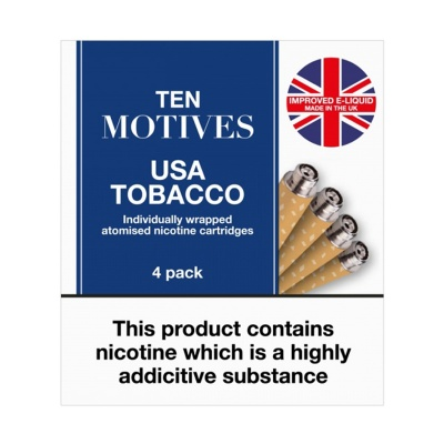 10 Motives E-Cigarette Low Strength USA Tobacco Refill Cartridges (11mg)