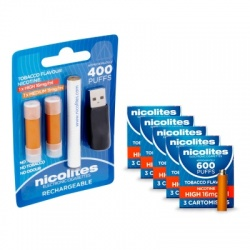 Nicolites Rechargeable Electronic Cigarette Starter Kit and High Strength Tobacco Refill Cartridges Combo Pack