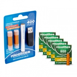 Nicolites Rechargeable Electronic Cigarette Starter Kit and Low Strength Menthol Refill Cartridges Combo Pack