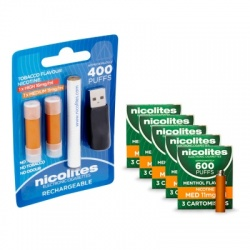 Nicolites Rechargeable Electronic Cigarette Starter Kit and Medium Strength Menthol Refill Cartridges Combo Pack