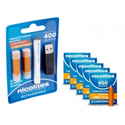 Nicolites Rechargeable Electronic Cigarette Starter Kit and Medium Strength Tobacco Refill Cartridges Combo Pack