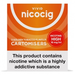 Vivid Nicocig Refill Cartridges High Strength Golden Tobacco Cartomisers
