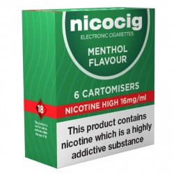 Nicocig Electronic Cigarette High Strength Menthol Refill Cartridges (Pack of Six Cartomisers)