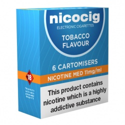 Nicocig Electronic Cigarette Medium Strength Tobacco Refill Cartridges (Pack of Six Cartomisers)