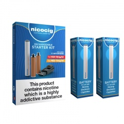 Nicocig Rechargeable Electronic Cigarette Starter Kit with Two Spare Rechargeable Batteries