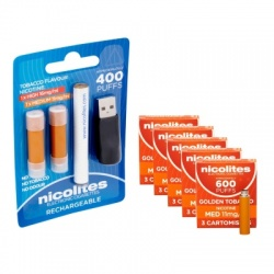 Nicolites Rechargeable Electronic Cigarette Starter Kit and Medium Strength Golden Tobacco Refill Cartridges Combo Pack