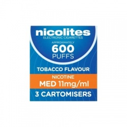 Nicolites Refill Cartridges Medium Strength Tobacco Cartomisers