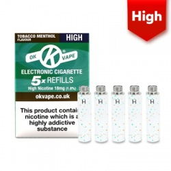 OK Vape E-Cigarette High Strength Tobacco Menthol Refill Cartridges (18mg)
