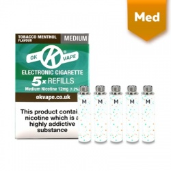 OK Vape E-Cigarette Medium Strength Tobacco Menthol Refill Cartridges (12mg)