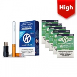 OK Vape Rechargeable E-Cigarette Starter Kit and High Strength Menthol Refill Cartridges Saver Pack