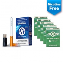 OK Vape Rechargeable E-Cigarette Starter Kit and Nicotine-Free Menthol Refill Cartridges Saver Pack