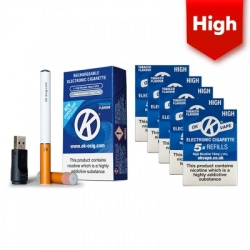 OK Vape Rechargeable E-Cigarette Starter Kit and High Strength Tobacco Refill Cartridges Saver Pack