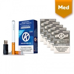 OK Vape Rechargeable E-Cigarette Starter Kit and Medium Strength Tobacco Refill Cartridges Saver Pack