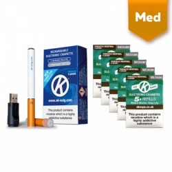 OK Vape Rechargeable E-Cigarette Starter Kit and Medium Strength Tobacco Menthol Refill Cartridges Saver Pack